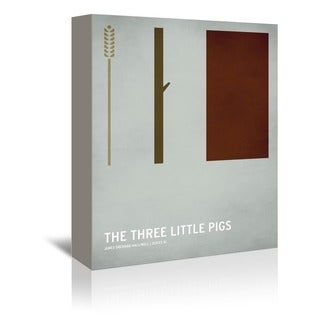 Christian Jackson Design 'Three Little Pigs' Wrapped Canvas Wall Art - Brown