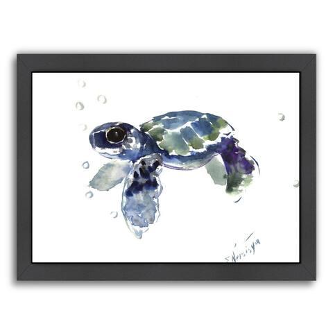 American Flat Suren Nersisyan Design 'Babe Sea Turtle' Framed Wall Art