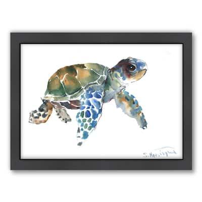 Tortoise Blue Nauticalby Suren Nersisyan - Framed Print Wall Art