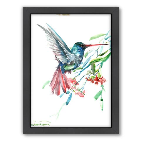 Suren Nersisyan 'Hummingbird and Flowers' Framed Wall Art