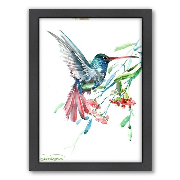 Suren Nersisyan 'Hummingbird and Flowers' Framed Wall Art