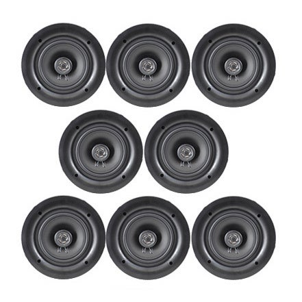 Pyle PDIC56 150 Watt, 2-way, Flush Mount, White 5.25-inch In-wall/ In-ceiling Dual Stereo Speakers (Set of 8)