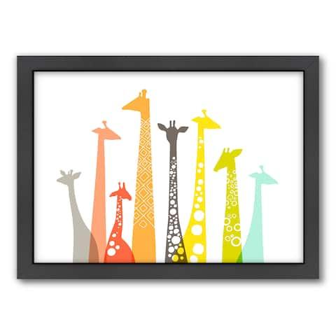 Americanflat 'Giraffes' Framed Wall Art