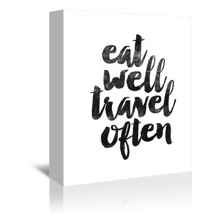 Americanflat 'Eat Well Travel Often' Gallery Wrapped Canvas - BLACK/WHITE