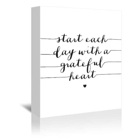 Americanflat 'Start Each Day with a Grateful Heart' Gallery Wrapped Canvas - White