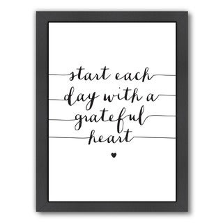 Americanflat Brett Wilson Design 'Start Each Day with a Grateful Heart' Framed Wall Art