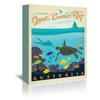 Americanflat 'Great Barrier Reef' Gallery Wrapped Canvas - Blue
