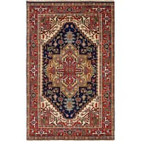 ecarpetgallery Hand-Knotted Serapi Heritage Blue, Red Wool Rug - 5'0 x 8'0