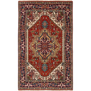 ecarpetgallery Hand-Knotted Serapi Heritage Brown Wool Rug (4'10 x 7'11 )