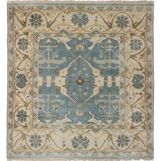 ecarpetgallery Hand-Knotted Royal Ushak Blue Wool Rug (4'10 x 5'0 )