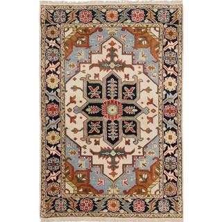 ecarpetgallery Hand-Knotted Serapi Heritage Ivory Wool Rug (4'0 x 6'0 )
