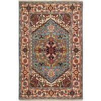 ecarpetgallery Hand-Knotted Serapi Heritage Blue Wool Rug (4'1 x 6'2 ) - 4'1 x 6'2