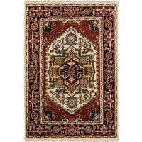 ecarpetgallery Hand-Knotted Serapi Heritage Ivory, Red   Wool Rug (4'1  x 6'0 ) - 4'1 x 6'0