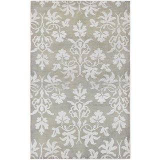 ecarpetgallery Hand-Knotted La Seda Grey Wool & Art Silk Rug (5'0 x 8'0 )
