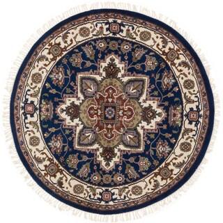 ecarpetgallery Hand-Knotted Royal Heriz Blue Wool Rug (5'0 x 5'0 )