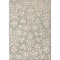 ecarpetgallery Hand-Knotted La Seda Grey Wool & Art Silk Rug (5'4 x 7'8 ) - 5'4 x 7'8