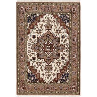 ecarpetgallery Hand-Knotted Royal Heriz Brown, Ivory Wool Rug (5'3 x 7'7 )