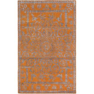 ecarpetgallery Hand-Knotted La Seda Orange Wool & Art Silk Rug (5'0 x 7'11 )