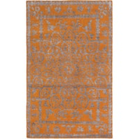 ecarpetgallery Hand-Knotted La Seda Orange Wool & Art Silk Rug - 5'0 x 7'11
