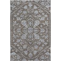 ecarpetgallery Hand-Knotted La Seda Grey Wool & Art Silk Rug - 6' x 8'11