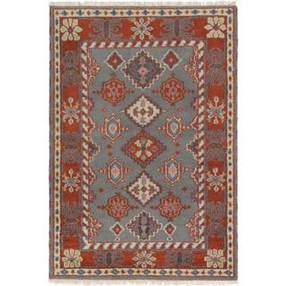 ecarpetgallery Hand-Knotted Royal Kazak Brown, Grey Wool Rug (4'1 x 5'11 )