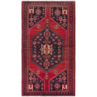 ecarpetgallery Hand-Knotted Hamadan Red Wool Rug (4'3 x 7'2 )