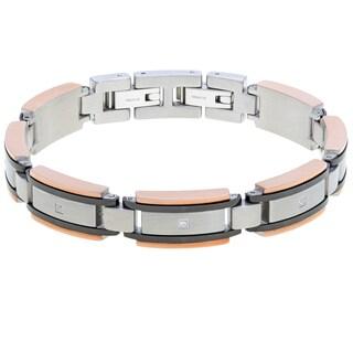 Tri-tone Stainless Steel Men's 1/10ct TDW Diamond Bracelet (H-I, I2-I3)