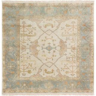 ecarpetgallery Hand-Knotted Royal Ushak Ivory Wool Rug (6'0 x 6'0 )