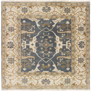 ecarpetgallery Hand-Knotted Royal Ushak Grey Wool Rug (6'1 x 6'1 )
