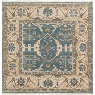 ecarpetgallery Hand-Knotted Royal Ushak Green Wool Rug (5'1 x 5'2 )