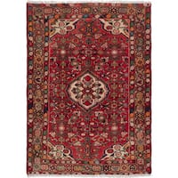ecarpetgallery Hand-Knotted Hosseinabad Red Wool Rug (3'7 x 4'10 )