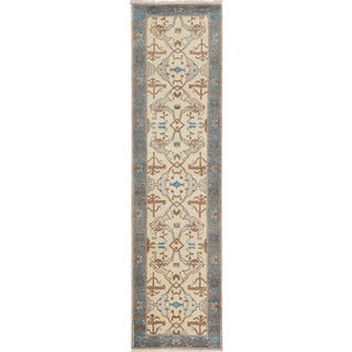 ecarpetgallery Hand-Knotted Royal Ushak Ivory Wool Rug (2'7 x 9'10 )