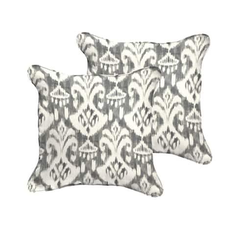 Rainford Grey/ Cream Indoor/ Outdoor Square Corded Pillow Set