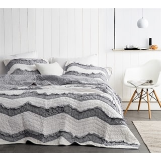 BYB Two Tone Jet Stream/Alloy Grey Relaxin' Chevron Ruffles Quilt Set (Shams Not Included)