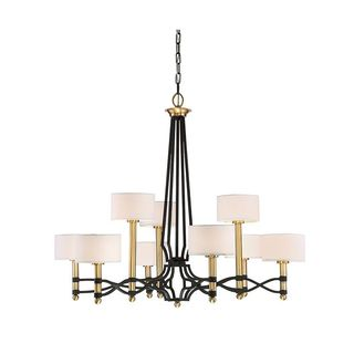 Exeter 9-Light Carbon with Warm Brass Accents Chandelier