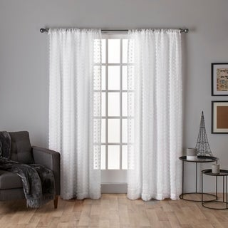 ATI Home Spirit Pouf Applique Sheer Curtain Panel Pair with Rod Pocket