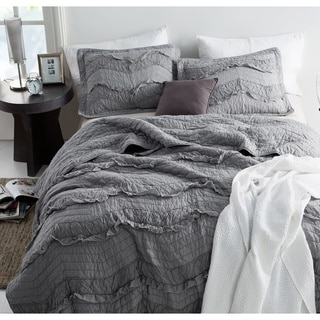 BYB Relaxin' Single Tone Alloy Grey Chevron Ruffles Quilt Set