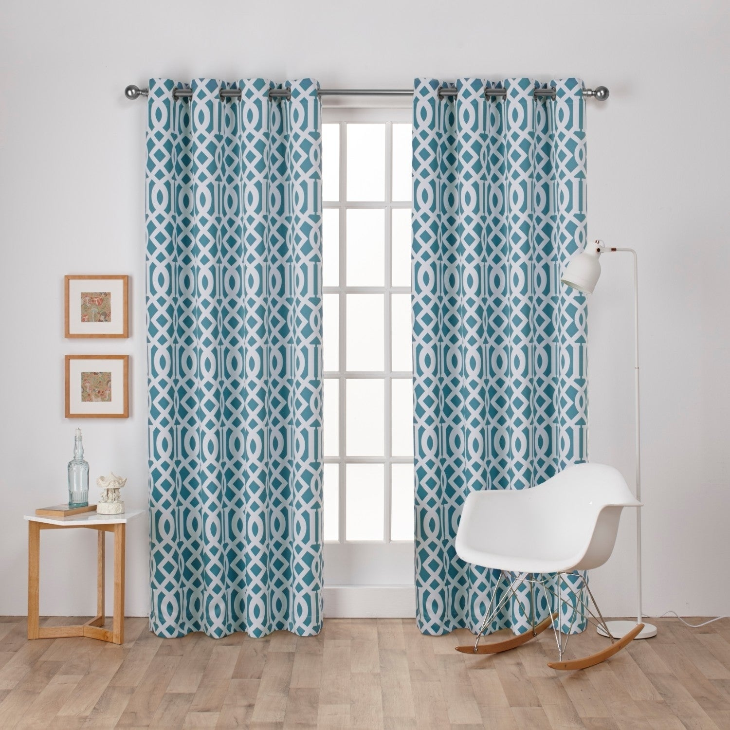 ATI Home Scrollwork Gated Print Woven Sateen Curtain Panel Pair With  Grommet Top (More Options