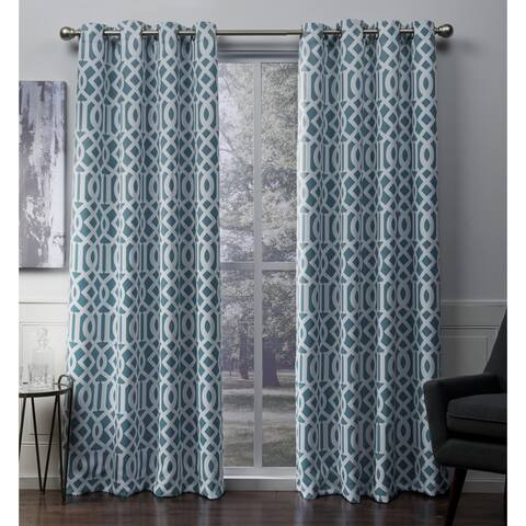 ATI Home Scrollwork Sateen Blackout Grommet Top Curtain Panel Pair