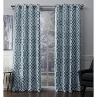 ATI Home Scrollwork Gated Print Woven Sateen Curtain Panel Pair with Grommet Top