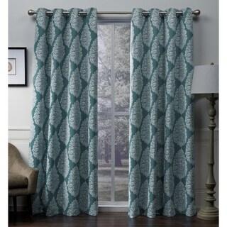 ATI Home Queensland Printed Medallion Sateen Woven Room Darkening Grommet Top Window Curtain Panel Pair