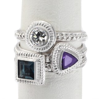 Michael Valitutti Sterling Silver Created Purple & Blue Multi Shaped Cubic Zirconia Stacking Ring Set of 3