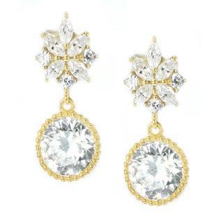 Michael Valitutti Palladium Silver Marquise & Round Cubic Zirconia Dangling Earrings