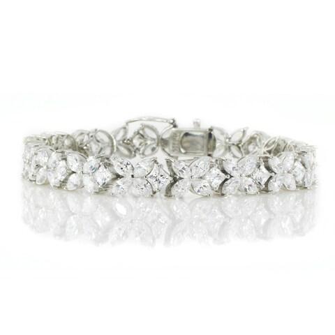 Michael Valitutti Palladium Silver Marquise & Princess Cubic Zirconia Bracelet