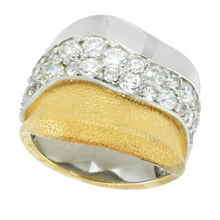 Michael Valitutti Sterling Silver Two-Tone Round Cubic Zirconia Ring