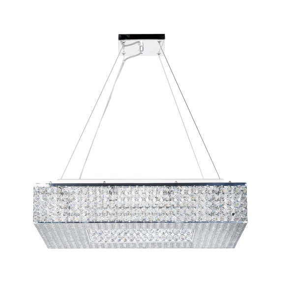 Chrome and Clear Crystal Squared 9-Light Chandelier