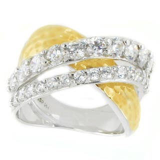 Michael Valitutti Sterling Silver Round Cubic Zirconia Hammered Ring|https://ak1.ostkcdn.com/images/products/15009611/P21507694.jpg?impolicy=medium