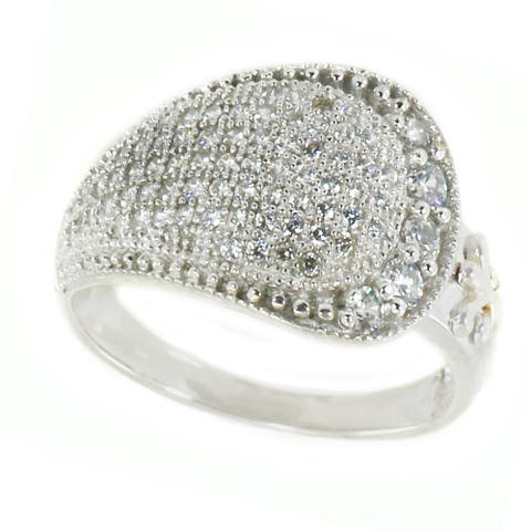 Gems en Vogue Sterling Silver Round Cubic Zirconia Ring
