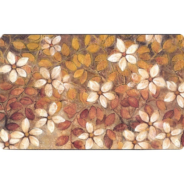 Premium Comfort WHITE TRADITIONAL BLOOM ANTI FATIGUE Kitchen Mat (18u0026#x27;u0026