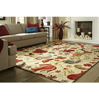 """Mohawk Home Strata Tropical Acres Set (Set Includes: 7' 6""""x10' Rug and Rug Pad)"""
